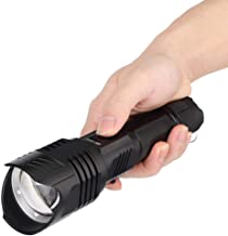 Rechargeable Flashlight, LCD Screen Strong Light Flashlight, Easy Use with Emergency Hammer for Outdoor Mountain Climbing