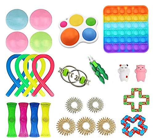 Muitar Sensory Fidget Toys Set, Cheap Fidget Toy Pack, 30 juegos de juguete Fidget para niños, Mini Simple Dimple Fidget