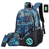 Ultra Light Water Resistant Boy School Backpack Set 3 Pieces School Bags Set