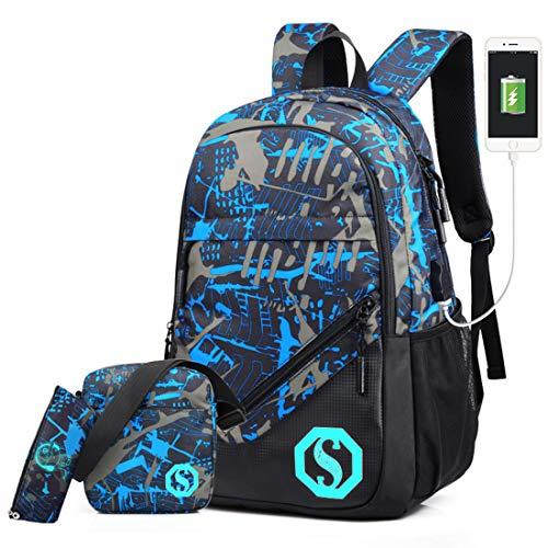 UNYU 3 Pieces School Bags, Jungen Schultaschen-Set Blau blau One Size
