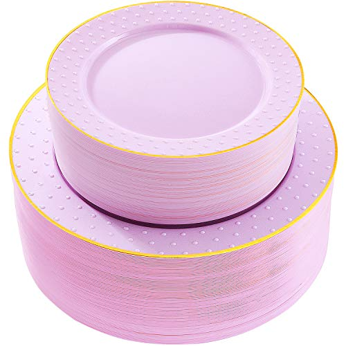 102pcs Disposable Plastic Plates, Purple Plastic Plates with Gold rim, Durable Plastic Plates, Heavy Duty, 51 Dinner Plates and 51 Dessert Plates, Supernal