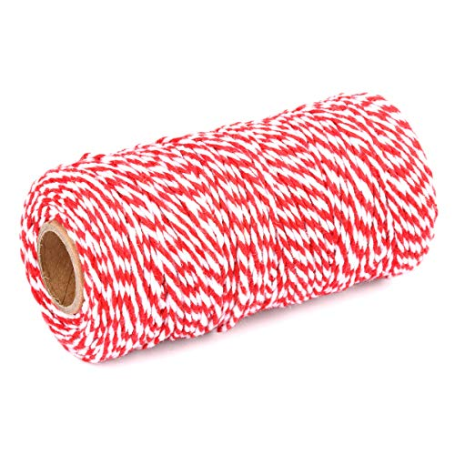 YZSFIRM 2 Roll 2mm Twine String,Big Red and White Garden Cotton Rope,Bakers Twine Packing Cord for Gift Wrapping and DIY Crafts(656 Feet)