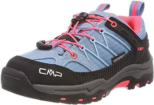 CMP – F.lli Campagnolo Kids Rigel Low Shoe Wp Trekking- & Wanderhalbschuhe, Türkis (Clorophilla-Red Fluo 89bd), 35 EU