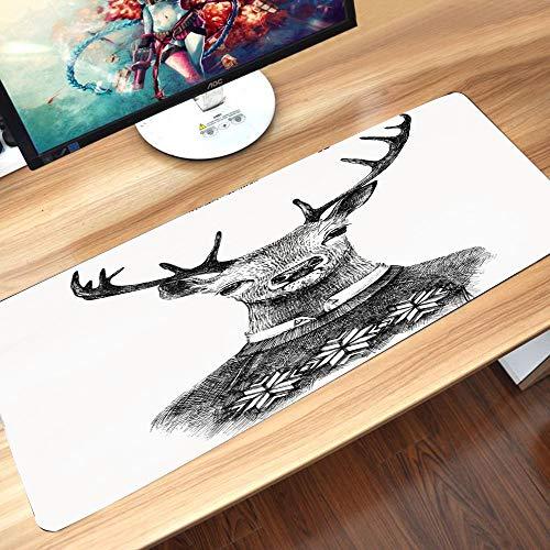 Gaming-Mauspad Gummiunterseite,Indie, Hand Drawn Deer Portrait in einem nordischen Strickpullover Hipster Ch,Schreibtischunterlage Abwischbar Anti Rutsch Matte Multifunktionales Office Mousepad60x35cm