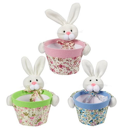 Candy Holders - 3-Pack Bunny Rabbit Candy Bowls, Ideal for Displaying Candy - Home Decorfor Living Room, Dining Room, Kids Rooms, Classrooms, Kitchen, Pink, Green, and Blue, 6.3 x 5.8 x 8 Inches