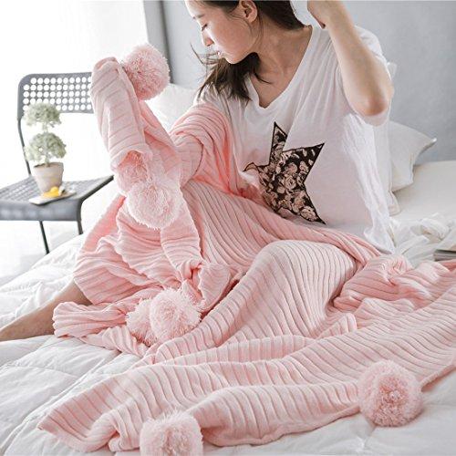 Blanketswarm - Manta de punto, 100% algodón, suave, con flecos, hipoalergénico, a rayas, de 90 x 90 cm, algodón, Rosa, 90 x 90 cm