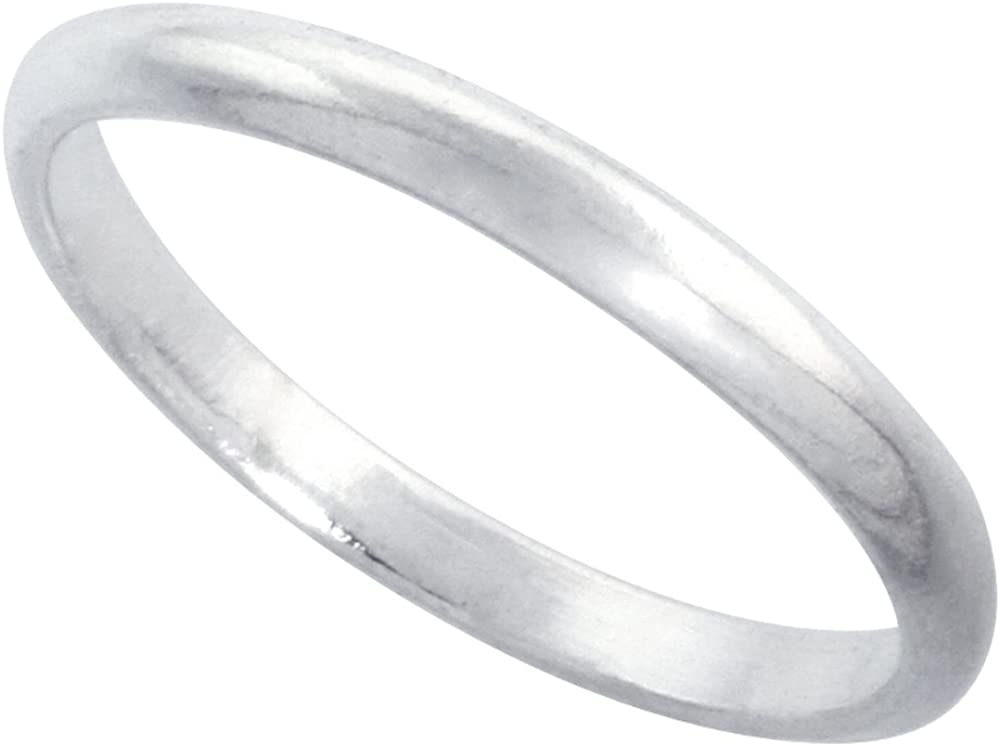 Denver Mall Sterling Silver 2 mm Thin Plain Wedding Ring Toe Free Shipping New Dome Thumb Band
