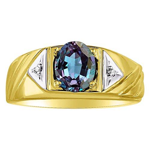 Para hombre simulado Alejandrita y diamante banda de plata de ley anillo o chapado en oro amarillo