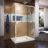 DreamLine Flex 36 in. D x 48 in. W x 74 3/4 in. H Semi-Frameless Pivot Shower Enclosure in Chrome and Right Drain Biscuit Base Kit, DL-6719R-22-01