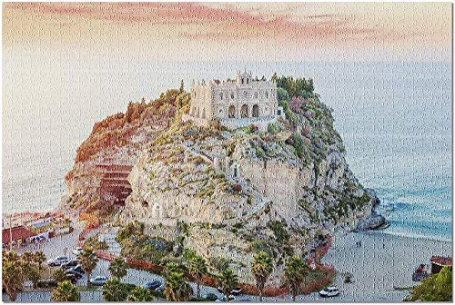 YYTOOF HD Tropea Calabria Italy - Santa Maria dell Isola at Sunset 9008354 (Premium 500 Piece Jigsaw Puzzle for Adults 52*38 cm)