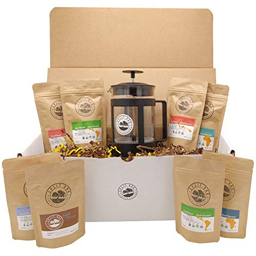 Best Coffee Gift Box Set 8 assorted coffees +1 French Press Glass Coffee Maker. Sumatra Timor Uganda Ethiopia Colombia Guatemala. All Amazing Coffee from all Over the World