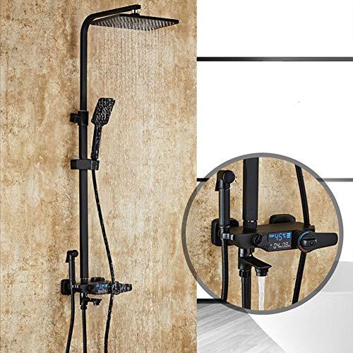 WHCCL Badkamer Douche Systeem met Temperatuur Display,regendouche, handdouche en Gun water 3 plaatsen douche