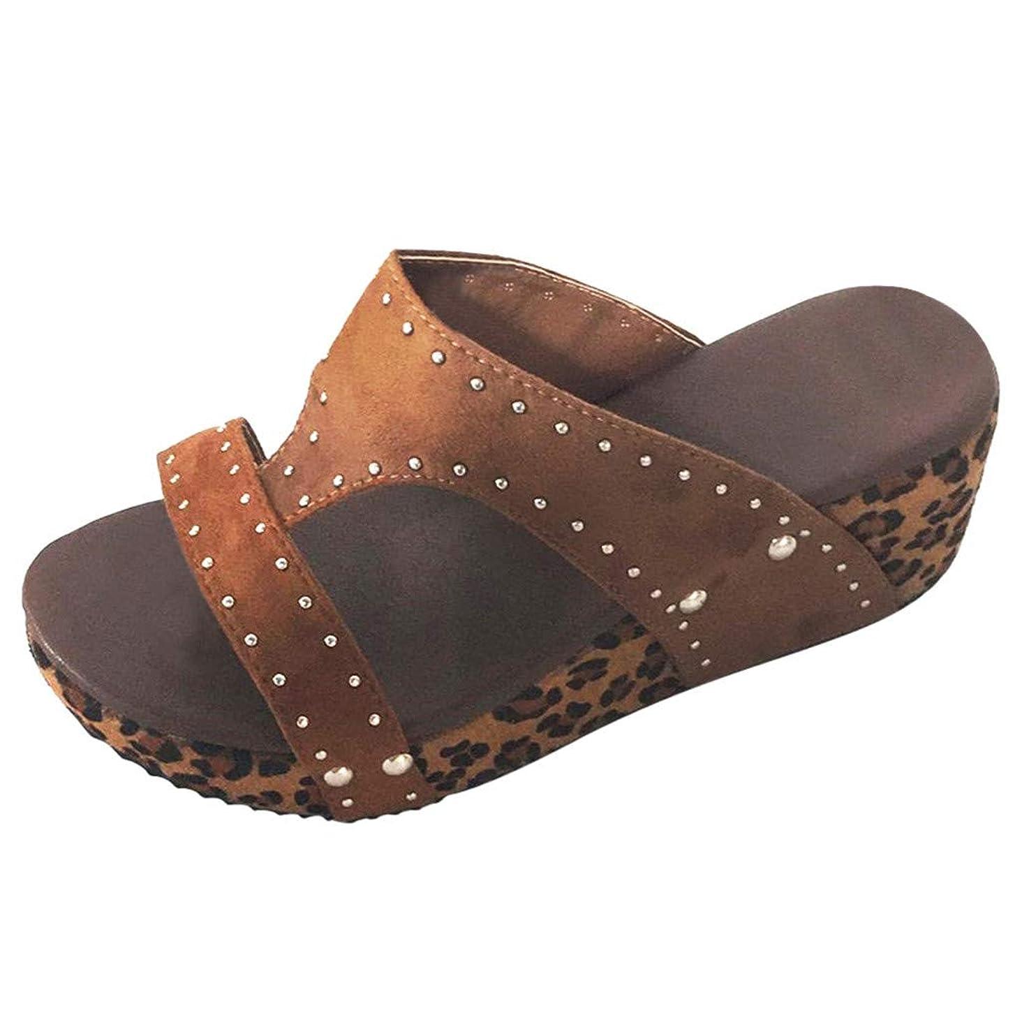 TANGSen Women Summer Rivet Beach Sandals Ladies Boho Casual Wedges Shoes Thick Bottom Slipper Fashion Shoes