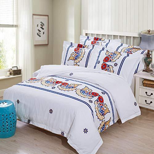 Juego de funda de edredón de sábanas de almohada de cuatro piezas de algodón individual doble fácil de cuidar suave doble impresión de peces, suelto