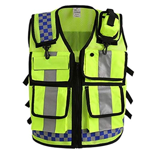 Vest reflecterende veiligheid mannen reflecterende politie vest veiligheid werkkleding Hi Vis Vest Eén maat Geel