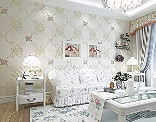 Simple European 3D three-dimensional refined bedroom living room wallpaper Concave carved European pastoral warm non-woven wallpaper-XSQ