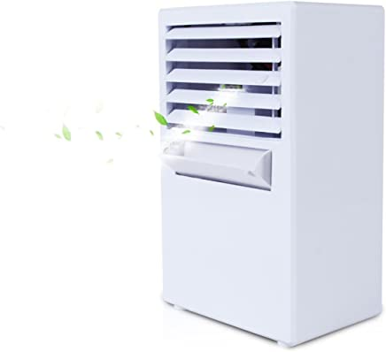 ミニデスクトップエアコンファンクーラー小型エアコンサイレントスプレー冷却湿度リーフレスファン (色 : 白)