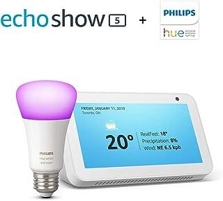 Echo Show 5 with Hue Colour Bluetooth Bulb, Sandstone