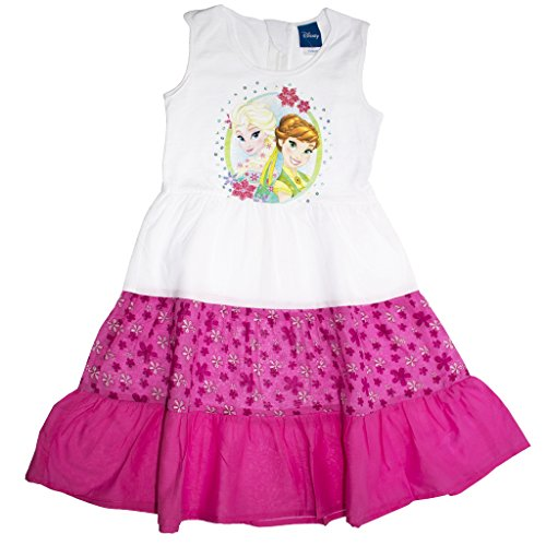 Mädchen-Kleid Eiskönigin Sommer-Kleid Weiss mit pink und Blümchen, Freizeit-Kleid ÄRMELLOS mit EIS-Prinzessinnen, Anna und ELSA Frozen-Kleid in Größe 104, 110, 116, 122, 128, 134 Größe 134