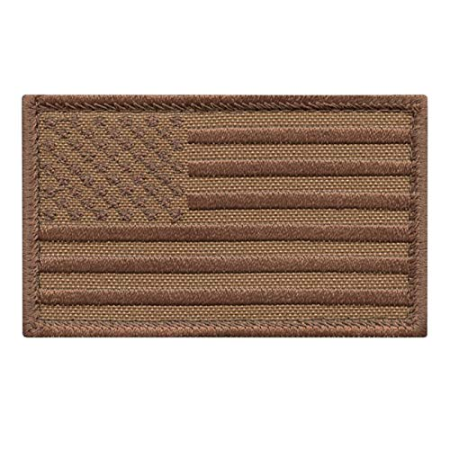 2AFTER1 USA American Flag Tan Coyote Brown 2x3.25 Stars And Stripes Tactical Morale Fastener cap Patch