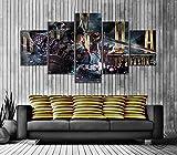 YUXIXI Vinilo Decorativo Póster De Videojuegos Cuadros Modernos Impresión De Imagen Artística Digitalizada | Lienzo Decorativo para Tu Salón O Dormitorio 5 Pieza -150 x 80 cm