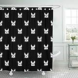 Sonernt Curtain Black Puppy French Bulldog Frenchie Animal Shower Curtain Bathroom Decor,Polyester Durable Waterproof Curtain