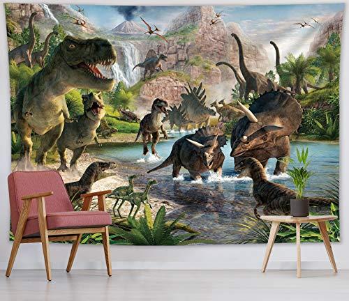 Tapeçaria HVEST com estampa de dinossauro jurássico selvagem, animais predadores, árvores, montanhas e natureza verde, para pendurar na parede; decoração de parede para quarto, sala de estar, dormitório, artigo de festa