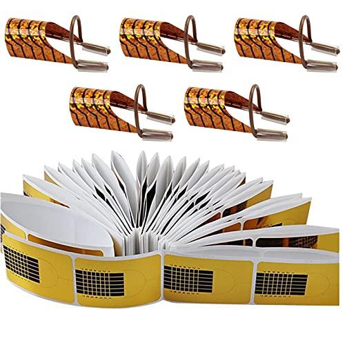 TouGod 200 Pezzi Rotolo Cartine Oro Extension e 5pcs Chiodo Guida Estensione Alluminio model Cartine Ricostruzione Unghie per Unghie Ricostruzione Fai