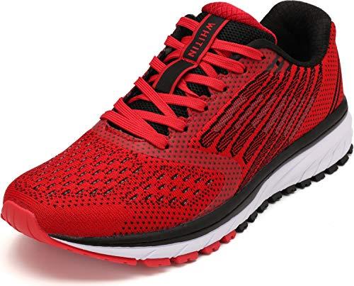 WHITIN Herren Damen Sportschuhe Sneakers Turnschuhe Frauen Laufschuhe Joggingschuhe Walkingschuhe Freizeitschuhe Schnür Fitness Schuhe Rot Größe 38