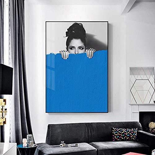 Rahmenlose Malerei Kunst Mädchen abstrakte Bunte Leinwand Wohnzimmer Wandkunst Moderne Dekoration posterZGQ5703 60X90cm