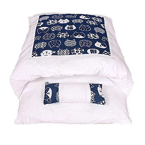 wenyujh Katzenschlafsack Katzenbett Waschbare Abnehmbare Schlafsack warm Katzenstreu Katzenmatte Haustierbett Für Katzen Hunde (A-Marine, L)