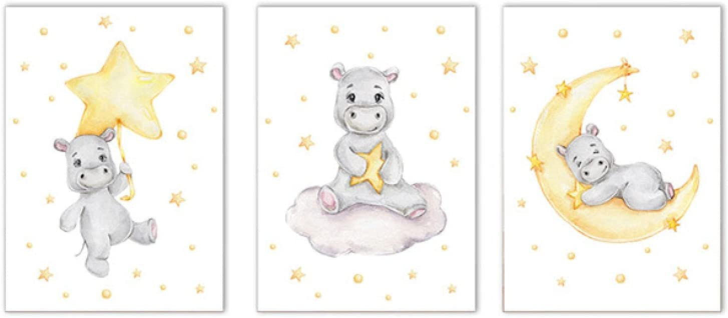 Nordic Hippo Wall Art Poster Baby Nursery Excellent Star Cl Limited time sale Print Moon