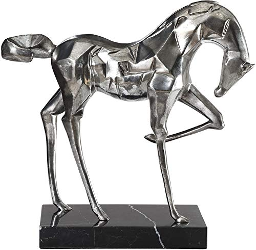Luxury Now- Antique Horse Statue - Sculpture in Brushed Nickel Plated Finish Prancing Home Decor | Lightweight | with Black Marble Base