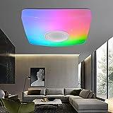 18W RGB Lampara de Techo, Plafon LED Techo Regulable con Mando a Distancia y Altavoz Buetooth Lámpara de Techo 3000-6500K Música Iluminación para Salón, Dormitorio, Cocina,37CM,1800lm