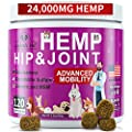 Hip and Joint Supplement for Dogs - 120 Soft Chews with HEMP Oil & HEMP Powder, Glucosamine, Chondroitin, MSM, Turmeric, Premium Dog Glucosamine for Pet Mobility Support and Inflammation Relief