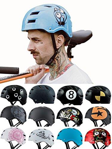 Skullcap® BMX Helm - Skaterhelm - Fahrradhelm - Herren Damen Jungs & Kinderhelm, blau, Gr. M (55 – 58 cm), Monster Blue