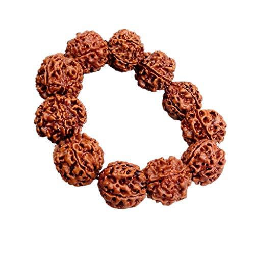 XKMY Pulseras amuleto de la suerte 20mm Rudraksha Bodhi Beads Tíbet budista 11 cuentas de oración pulsera amuleto