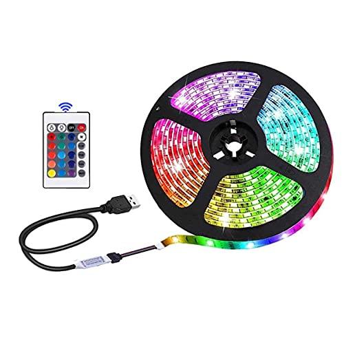 Tiras LED USB funciona con pilas para retroiluminación de TV, decoración de interiores, 16 colores, control remoto de 24 teclas, 5 V seguro y Touchale (3 m)