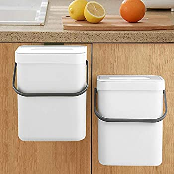Compost Bin Indoor Kitchen Sealed LALASTAR Hanging Small Trash Can with Lid Under Sink for Kitchen Food Waste Bin for Countertop Mountable Garbage Can for Bathroom RV 5L/1.3 Gal White