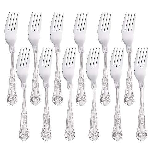 Buyer Star Forchette da pesce Set di posate in argento da 12 pezzi, classico elegante lucidato a specchio