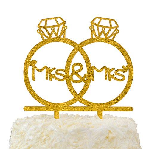 LOVENJOY Gift Box Pack Lesbian Mrs and Mrs in Diamond Rings Same Sex Monogram Wedding Engagement Cake Topper (5.3-inch, Gold Glitter)