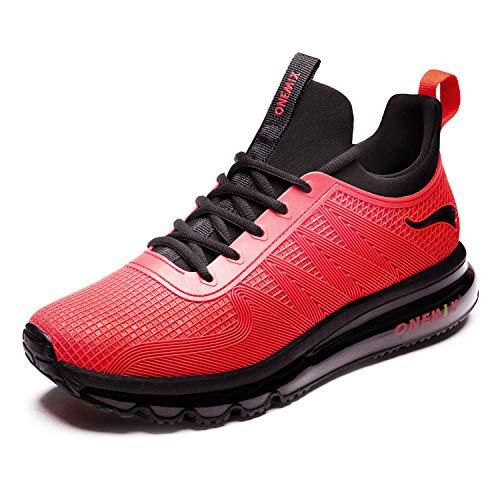 ONEMIX Zapatillas Deporte Hombres Running Zapatos para Transpirables Casual Deportivos Gimnasio Correr Sneakers 1191 Rojo 46