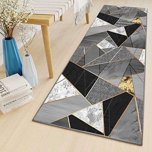 Läufer Flur Grau Schwarz Modern Waschbare rutschfest Geometrische Muster Lauferteppich Flur für Schlafzimmer Wohnzimmer Diele Veranstaltungen, 110x300cm Color5