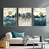Geometry Mountain Sunrise Arte de la pared Pintura en lienzo Paisaje abstracto Carteles e impresiones Imágenes de pared para la sala de estar Decoración del hogar 30x45cmx3 Sin marco