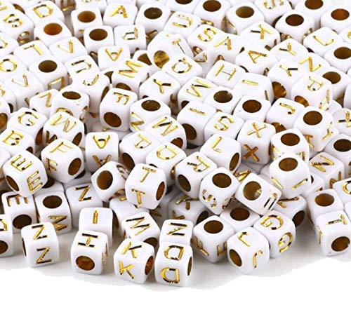 Sadingo, perline a forma di cubo (500 pezzi da 6 mm) in oro bianco, con lettere dell'alfabeto, perline per bricolage, gioielli fai da te