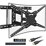 Everstone TV Wall Motion full motion Swivel Bracket,for 28-70 inch LCD LED CURVED OLED Plasma Flat Screen TVs,16' 18' 24' Studs,Up to 600x400mm and 110lbs,HDMI