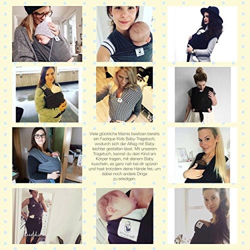 Fastique Kids® Babytragetuch – elastisches Tragetuch für Früh- und Neugeborene Kleinkinder – inkl. Baby Wrap Carrier Anleitung – Farbe grau - 4
