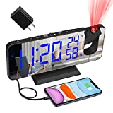 "Best Projection Alarm Clocks - Projection Alarm Clock for Bedroom, Large 7.4"" LED Review"