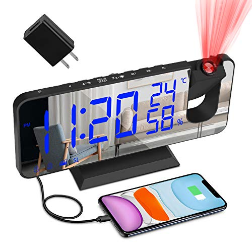 """Projection Alarm Clock for Bedroom, Large 7.4"""" LED Screen Display with USB Charger and Loud Dual..."""