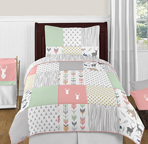 Coral, Mint and Grey Woodsy Deer Girls 4 Piece Kids Childrens Twin Bedding Set
